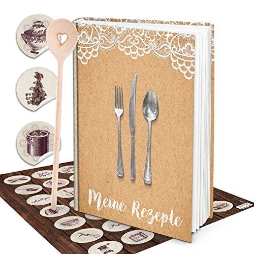 Grote shabby Hardcover XXL receptenboek DIN A4 kookboek top vintage antieke keukensticker + houten kooklepel hart beige wit kraftpapier look zelf vormgeven geschenk keuken koken notitieboek recepten