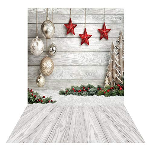 Allenjoy 5x7ft White Wood Christmas Party Photography Backdrop for Portrait Soft Fabric Winter Snow Wooden Floor Xmas Background Newborn Baby Shower New Year Party Banner Decors Photo Studio Props