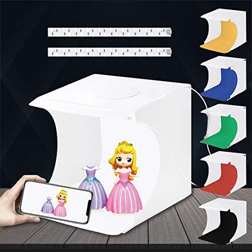 PULUZ Photo Studio Box with LED Light, 20cm Mini Portable Photography Lighting Tent Kit, White...