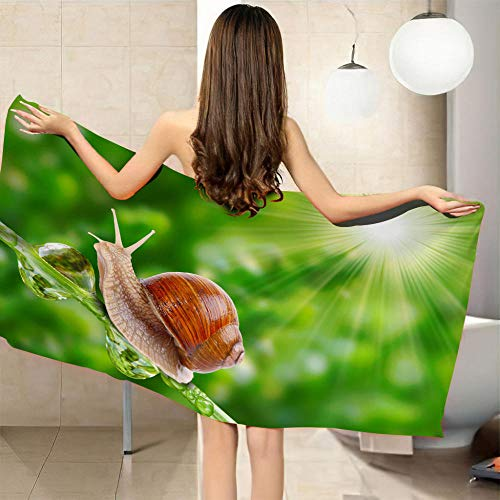 QHDHGR 3D Toalla de Playa Grande de Microfibra Caracol de Jade Blanco Rectángulo Manta de Verano Playa Compacto Resistente a la Arena Seque Rápidamente Yoga o Viajes 70 x 150 cm