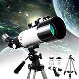 MWKL Telescopio astronómico de Regalo Profesional HD 400 / 70Mm Telescopios monoculares refractores National Geographic con Extensor planetario y Bolsa de Transporte fo