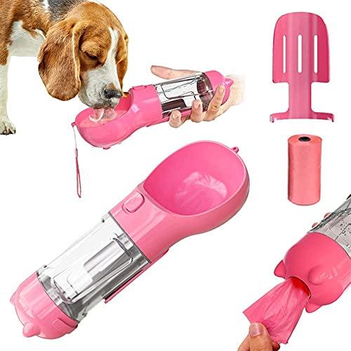 Botella de agua de perro Botella de agua portátil Botella de agua para mascotas Dispensador de agua integrado Lleve un dispensador de bolsas de basura, cucharada de residuos para perros Taza de bebida