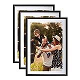 Lot de 3 Cadres Photo A4 Noir (21x29.7 cm) - Cadre Photo en résine avec vitre en Verre - Livré avec Pied chevalet et Crochets pour Fixation au Mur. Idéal pour Photo, diplômes, publicité.
