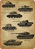 AKICLIA Military WWII Tanks Vintage Sign Metal Tin Sign Wall Decor 8 X 12 Inches