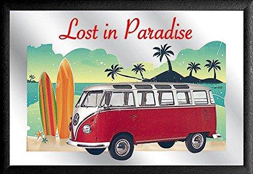 empireposter - Volkswagen - Bulli - Lost in Paradise - Afmetingen (cm), ca. 30x20 - Bedrukte spiegel, NIEUW - Beschrijving: - Bedrukte wandspiegel met zwarte kunststof lijst in houtlook -