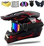 Casco de motocross para adultos y niños, casco completo para bicicleta de montaña Downhill, casco de motocross completo, casco de moto, ATV, norma de seguridad DOT (rojo, S)