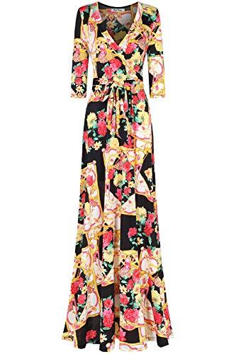 Bon Rosy Women's #MadeInUSA 3/4 Sleeve V-Neck Printed Maxi Faux Wrap Floral Dress