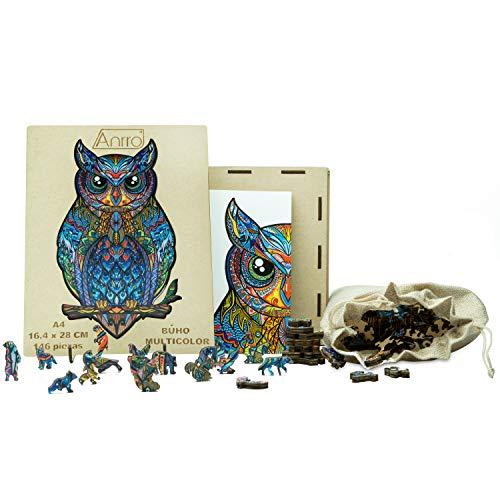 Puzzle de Madera Animales para Adultos, Tamaño A4, Incluye Poster - Rompecabezas para niños | Pasatiempos Familiar (Búho Multicolor) 150 Piezas