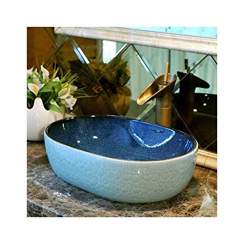 ZHFF Lavabo de baño, Lavabo de cerámica Azul Vintage sobre encimera Lavabo Lavabo 14x19x6 Pulgadas