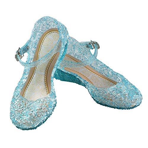 URAQT Principessa Elsa Cenerentola Tacco di Scarpe Blu Bambini Brillare Natale Travestimento Carnevale Party Halloween Fest