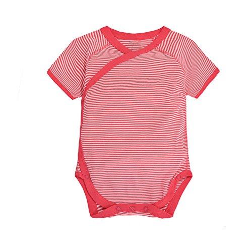 CuteOn Enfant Bébé Été Vêtements Onesies Coton Le maillot de corps - Manche courte Kimono Style avec Side Snaps Rouge Striped 3 Mois