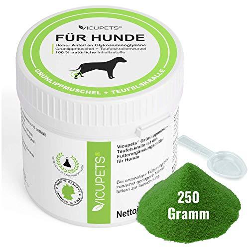 Vicupets Grünlippmuschel & Teufelskralle 250g I Glucosamin/Glukosaminol für Hunde Teufelskralle für Hunde 100% natürliche Inhaltsstoffe I als Barf Zusatz