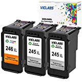 VicLabs ReManufactured Ink Cartridges Replacement for Canon PG-245XL 245XL CL-246XL PG-243 CL-244 for Pixma MX492 MX490 IP2820 MG2420 MG2520 MG2522 MG2922 MG2924 TS302 MG2920 MG3022(2Black+1Tri-Color)