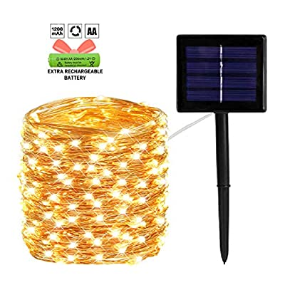 OZS 200LED Solar String Lights Outdoor, Updated More Durable Solar Lights Outdoor, Waterproof Copper Wire 8 Modes Solar Powered Fairy Lights for Patio Wedding Yard Party (Warm White)