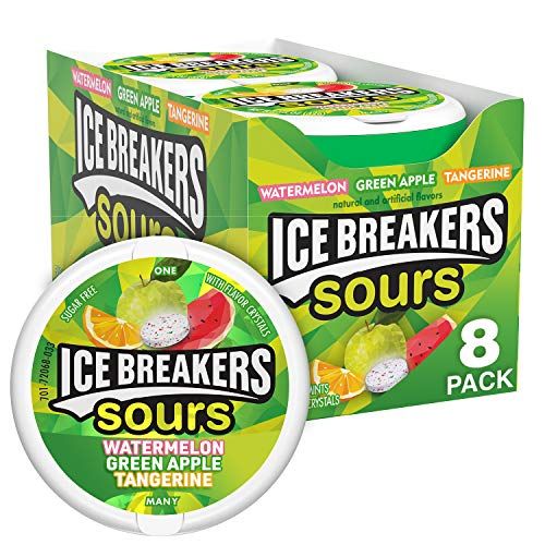 ICE BREAKERS Sours Green Apple, Tangerine, Watermelon Flavored Sugar Free Breath Mints, Bulk Sour Candy, 1.5 oz Container (8 ct)