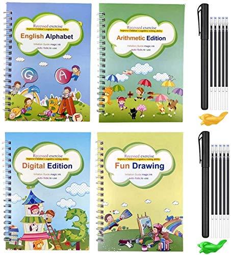 Magic Practice Copybook Set, Englisch Für Kinder Wiederverwendbares Magical Copybook Kids Tracing Book Für Handschrift Magical Letter Writing Book Set A