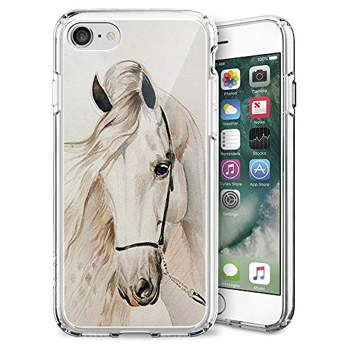 Compatible with iPhone 7/8/SE 2020 Case White Horse Pattern Crystal Print Soft Super Silm Clear Case for iPhone 7/8/SE 2020 Scratch-Proof Protective Cover