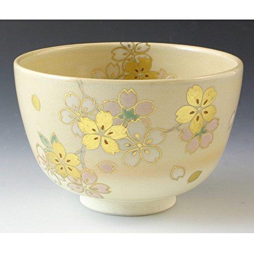Kiyomizu-kyo yaki ware. Japanese Matcha chawan teabowl golden cherry blossom with paper box. Ceramic. kymz-TCK757