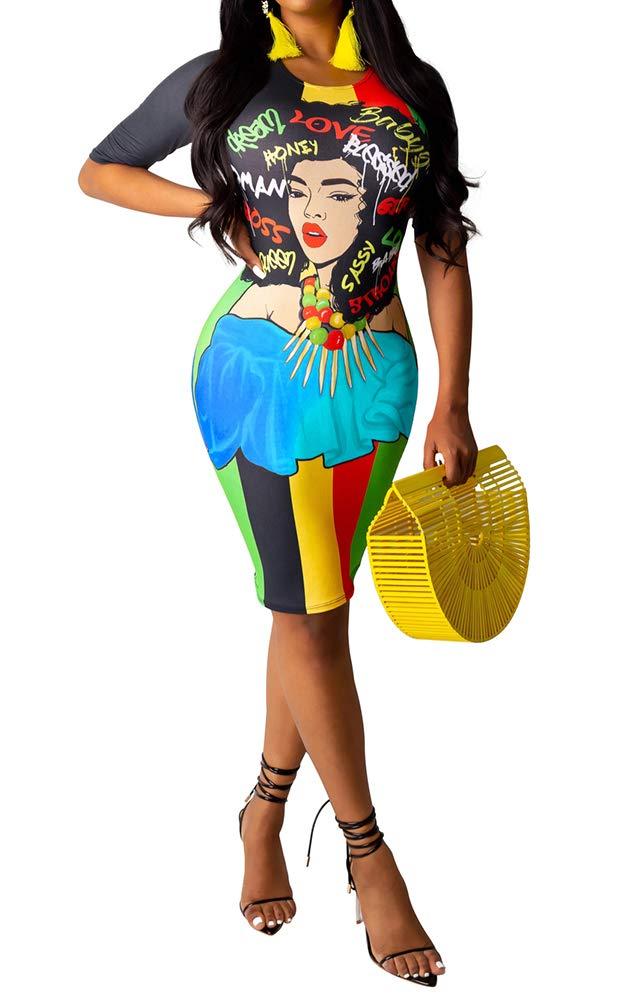 Available at Amazon: MorwenVeo Women's Casual Crew Neck Graffiti Print Short Sleeve Slim Bodycon Pencil Midi Dress