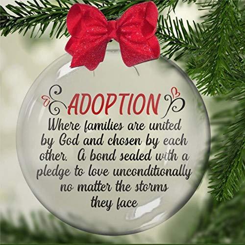 Adoption Where Families Are United by God Acryl-Weihnachtskugel-Ornament, ausgewähltes schönes Gedicht, Weihnachtsbaum-Ornament mit Geschenken für Kirchenmitglieder, Urlaub, Familie und Freunde.