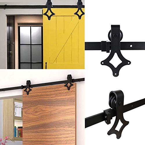 Schiebetürschienen-Set, klassisch, mit Schiebetür, Zubehör-Set für Scheunentür, Schränke, Aufhänger, Rollschienen-Set, Schwarz, schwarz