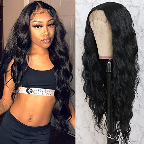 QD-Tizer Black Long Loose Curly Wave Lace Front Wigs with Baby Hair Heat Resistant Glueless Synthetic Lace Front Wigs for Fashion Women 28 Inch