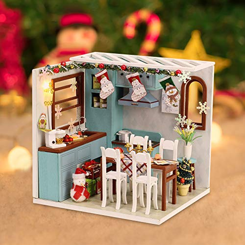 Christmas Doll House Miniature Dollhouse Kit DIY Wooden Mini House Model Dollhouse Accessories with Furniture Set Toy Plus Dust Proof Cover Assembled Cabin Handcrafts Educational Toys for Kids Adults