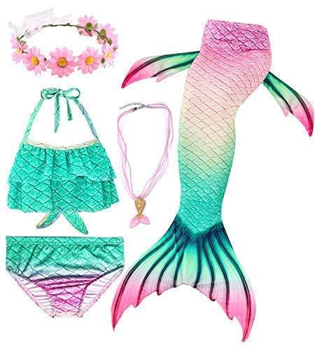 Conjunto de 5 Piezas Cola de Sirena para Nadar para niñas Traje de baño Sirena Incluyendo Coronas y Collares (HXGB02,150)