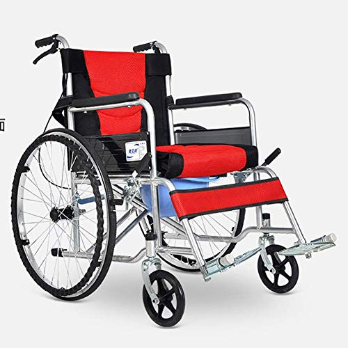 KAD Silla de ruedas plegable y liviana Manejo de suministros médicos para adultos para adultos, Silla de ruedas para ancianos Trolley portátil para discapacitados dg/Rojo