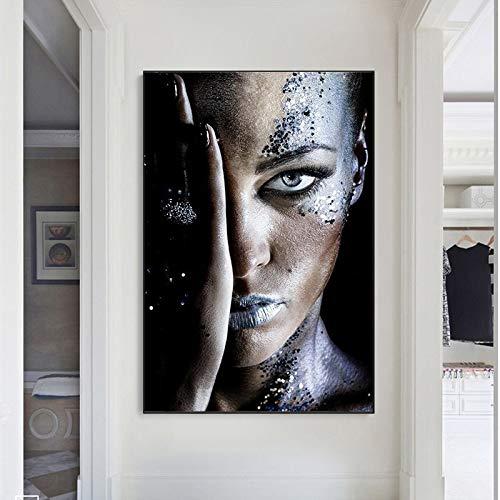 wZUN Mujer Negra Africana sobre Lienzo póster e Impresiones Maquillaje Mujer Arte Cubierta Cara Imagen de Pared decoración para el hogar 60x90 Sin Marco
