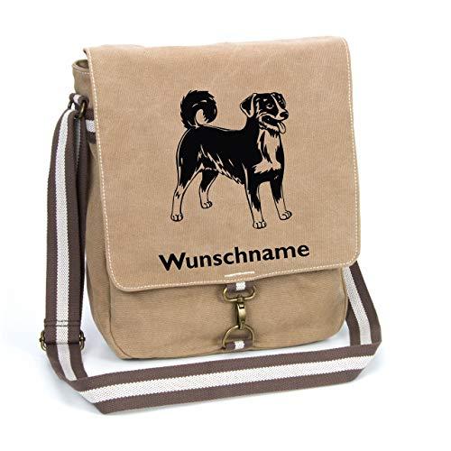 Appenzeller Sennenhund Canvas Schultertasche Umhängetasche Tasche mit Hundemotiv und Namen personalisiert