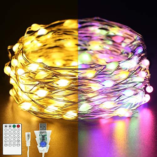 Luci a stringa LED TWZ, 11M 100 LED,11 modalità flash,4 modalità di controllo della musica, Alimentato da USB catene luminose,adatto per interni ed esterni,stanza,festa,Natale (bianco caldo e colore)