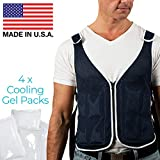 New Home Innovations Cooling Vest Proudly Made in USA with 4 x Body Ice Packs   #1 Phase Change Vest for MS - Sport - Motorcycle - Cooking - Mascot - Cosplay   Adjustable Cooling Shirt S - XXL
