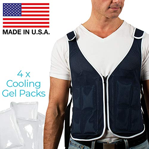 New Home Innovations Cooling Vest Proudly Made in USA with 4 x Body Ice Packs | #1 Phase Change Vest for MS - Sport - Motorcycle - Cooking - Mascot - Cosplay | Adjustable Cooling Shirt S - XXL