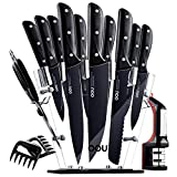 Knife Set, 15pcs Professional Kitchen Knives, Forged Full Tang Chef Knife Set, High Carbon Stainless Steel with Sturdy Triple Rivets, BO Anti-rusting, Ultra Sharp & Durable, Black Chef Series by OOU