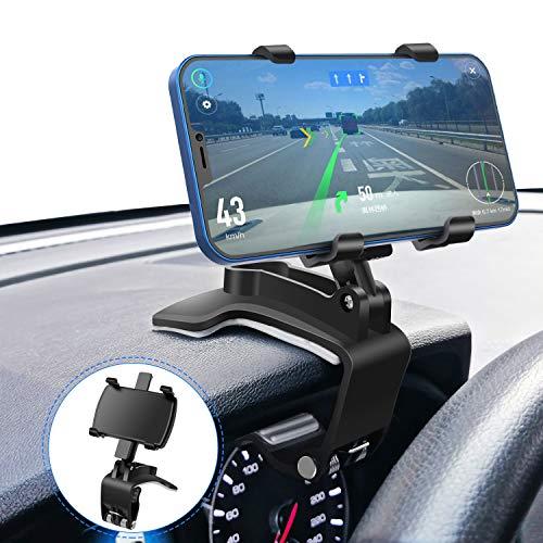 Soporte Móvil Coche para Parabrisas/Salpicadero, Rotación de 360 ° + 180 °, Porta Movil Coche Adecuado para Teléfonos Móviles de 3-7 Pulgadas y GPS
