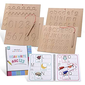 Motlan Montessori Wooden Alphabet & Numbers Tracing Board w/ Dry Erase Book Bonus | Wood Letter Tracing- 2 Double-Sided Boards - for Toddlers and Preschool
