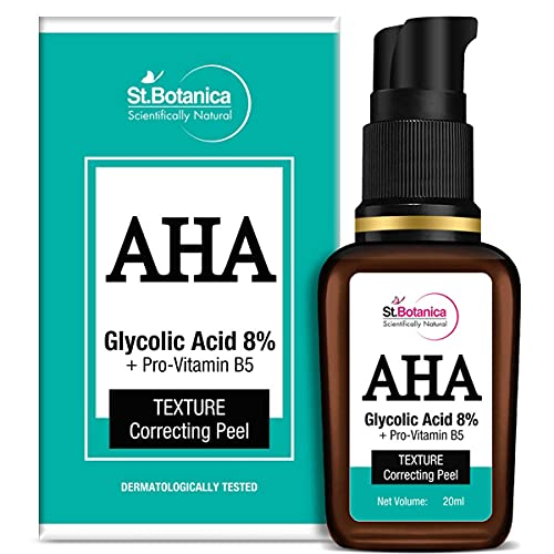 StBotanica AHA Glycolic Acid 8% + Pro Vitamin B5 Texture Correcting Skin Peel (Face Serum), 20 ml