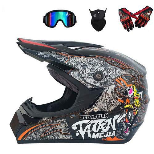 Joopark Casco da Motocross Fuoristrada per Uomo con Design Stampato Moto da Cross Casco Completo Casco da Corsa Road Set con Occhiali Maschera Unisex e Guanti per Adulti