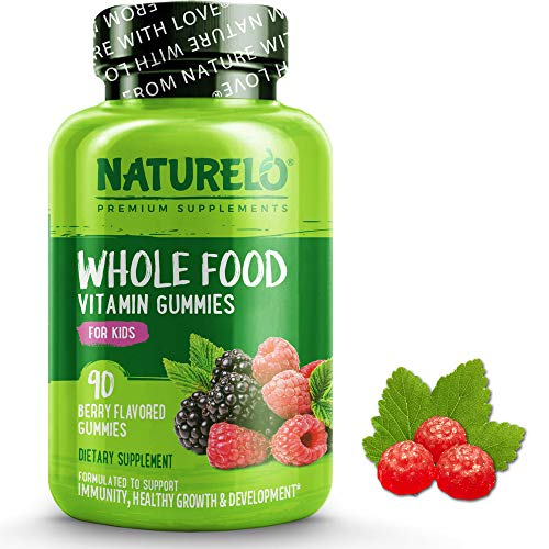 NATURELO Whole Food Vitamin Gummies for Kids - Best Chewable Gummy Multivitamin for Children - Non-GMO - with Natural Vitamins & Minerals - 90 Vegan Gummies