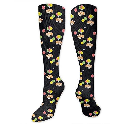 Niet toepasbare lange sokken Kawaii Corgi Party met kleurrijke ballon compressiekousen lopen dames reistrooper heren beste medical stok Maternity Athletic 50cm