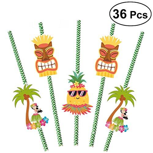 LUOEM Hawaiian Papier Strohhalme trinken Strohhalme Luau Motto Party Sommer Strand Pool Bar Club Geburtstag Hochzeit Dekorationen, Pack von 36