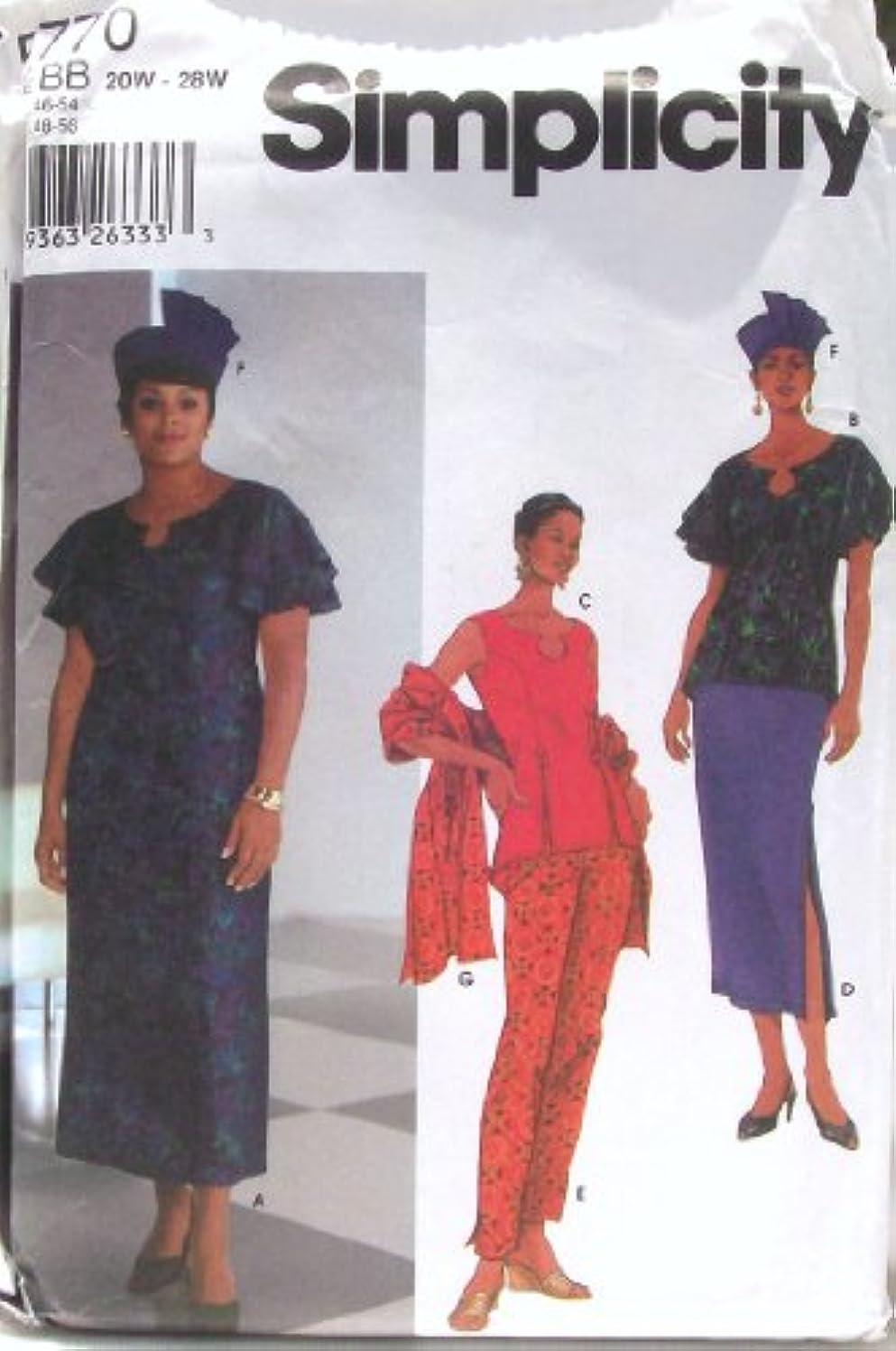 Simplicity Pattern 5770 Women's Dress or Top, Skirt, Pants, Shawl & Hat Sizes 20W-28W