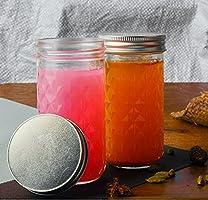 Glass Jars for Kitchen Kitchen Dried Masala Storage Jar, Honey Jar, Jar and Container, Spice Masala Jar 350 ml .Pack of...