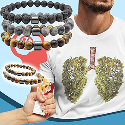 Pulsera Healthylungs Sin Humo, Pulsera para Dejar de Fumar, Compañero Personalizado para Dejar de Fumar, Pulsera Limpiadora de Ojos de Tigre, Pulsera, Equilibrio de Ansiedad (A)