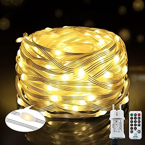 220 LED Lichterkette, 25M 8 Modi, wasserdichte Außenleuchte mit Fernbedienung Timer, PVC-Draht dekorative Lichtbeleuchtung, geeignet für Gärten, Bäume, Hochzeiten, Partys (warmweiß)