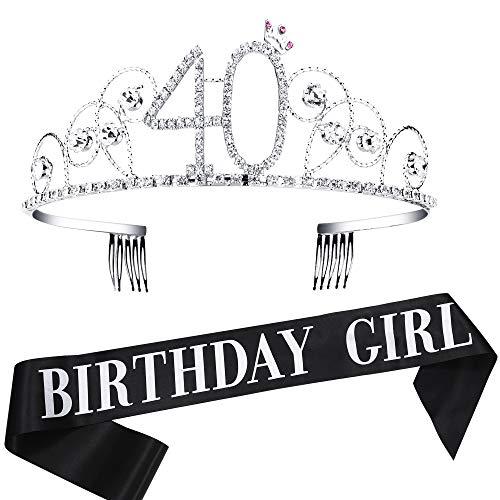 Coucoland Corona de cristal de cumpleaños con faja de diamantes de imitación de cristal princesa Tiara Headpiece Happy Birthday Accesorios