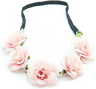 Kewl Fashion Women's Bohemian Beach Rose Flower Hoop Headband for Travel Party Festivals