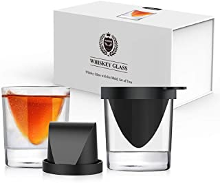 Kollea Whiskey Glasses - (Whisky Glasses with Ice Mold, Set of Two)-Birthday Gift for Men-Great Christmas Gift-Whiskey Gift Ideas for Men-Inexpensive Whiskey Lovers Gifts for Men