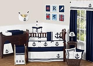 Sweet Jojo Designs 9-Piece Anchors Away Nautical Navy and White Boys Baby Bedding Crib Set